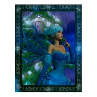 Frost Fae Winter Fantasy Digital Art Postcard