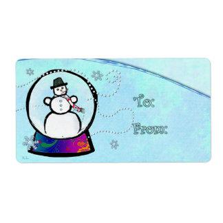 Frost Man Snow Globe Folk Art GIFT Label