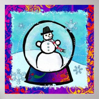 Frost Man Snow Globe Folk Art Poster