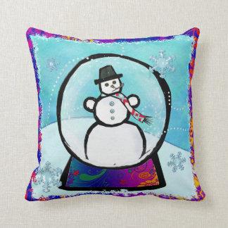 Frost Man Snow Globe Folk Art Throw Pillow