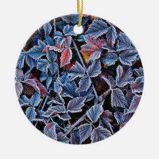Frost on autumn leaves, Oregon Ceramic Ornament