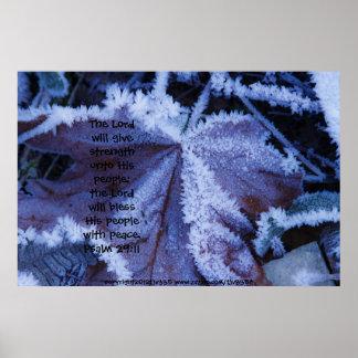 Frost on Leaf 2 Print w/Scripture Verse