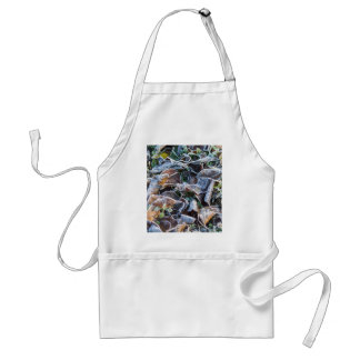 frost on leaves in winter adult apron