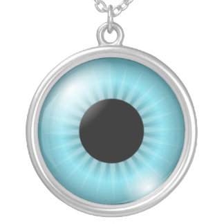 Frost Teal Blue Eye Round Pendant Necklace