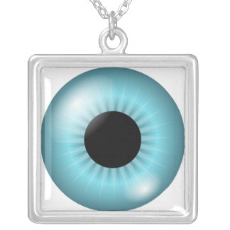 Frost Teal Blue Eye Square Pendant Necklace