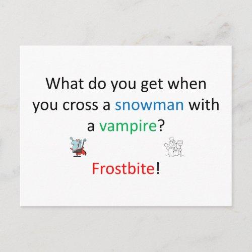 Frostbite joke postcard
