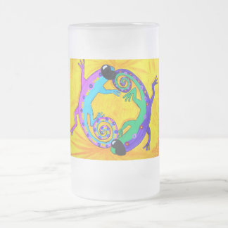 Frosted Beer Stien - Groovy Tropical Lizards Frosted Glass Beer Mug