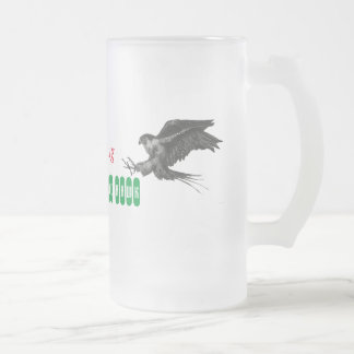 Frosted Beer's Mug & Peregrine Falcon Drawing