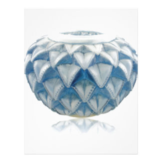 Frosted blue Art Deco vase with etched design. Letterhead