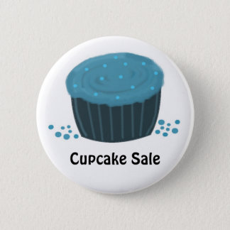 Frosted Blue Cupcake - Cupcake Sale Pinback Button