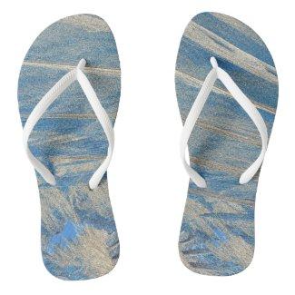 Frosted Blue Flip Flops