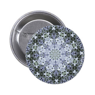 Frosted Blue Flower Fractal 2 Inch Round Button