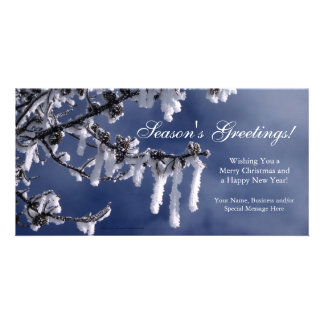 Frosted Branch Custom Flat Christmas Greeting Card