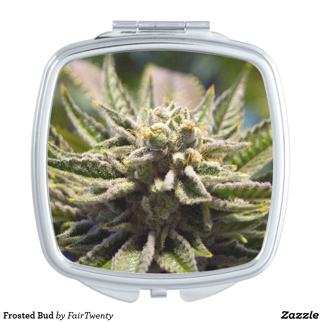 Frosted Marijuana Bud Mirrored Compact - Legal Cannabis Day