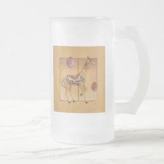 Frosted Cup - Carousel Giraffe 16 Oz Frosted Glass Beer Mug