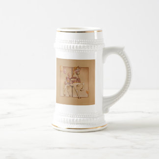Frosted Cup, Steins - Purple Pony Carousel 18 Oz Beer Stein