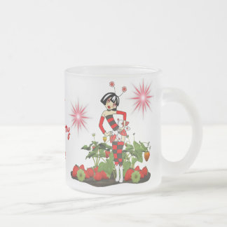 Frosted Cup-Sweet Fairy Strawberry Dreams Frosted Glass Coffee Mug