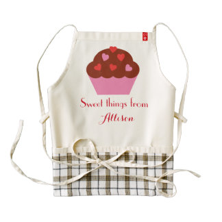 Frosted Cupcake Sweet Things Custom Name A02 Zazzle HEART Apron
