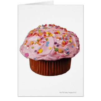 Frosted cupcake with sprinkles card