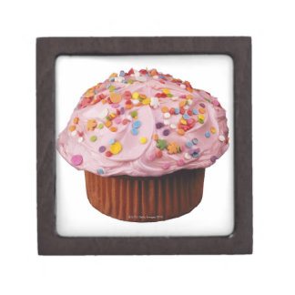 Frosted cupcake with sprinkles jewelry box