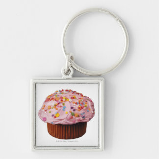 Frosted cupcake with sprinkles key chain
