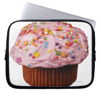 Frosted cupcake with sprinkles laptop sleeve