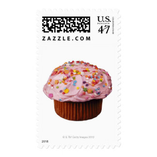 Frosted cupcake with sprinkles postage