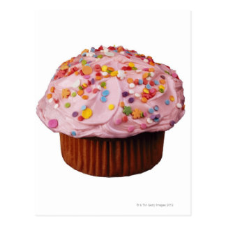 Frosted cupcake with sprinkles postcard