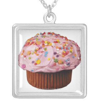 Frosted cupcake with sprinkles silver plated necklace