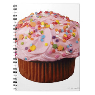 Frosted cupcake with sprinkles spiral notebook