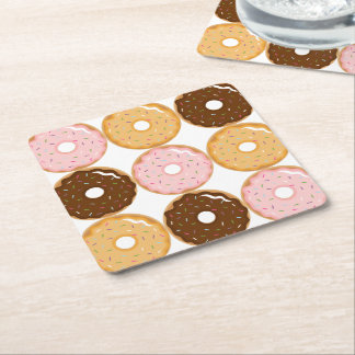 Frosted Donut Pattern Square Paper Coaster