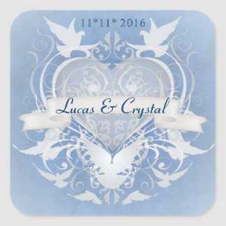 Frosted Fairy Tale Blue Save The Date Sticker