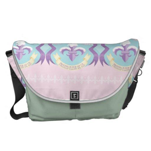Frosted Fleur de Lis - Harlequin Messenger Bag