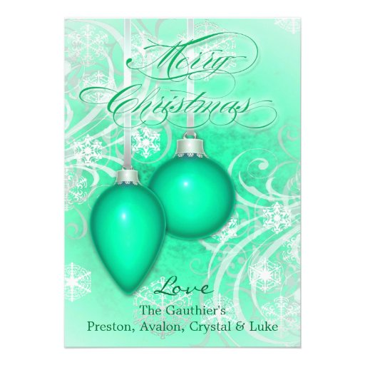Frosted Flourishes Sea Green Winter Holiday Card