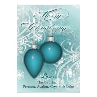 Frosted Flourishes Teal Winter Holiday Card