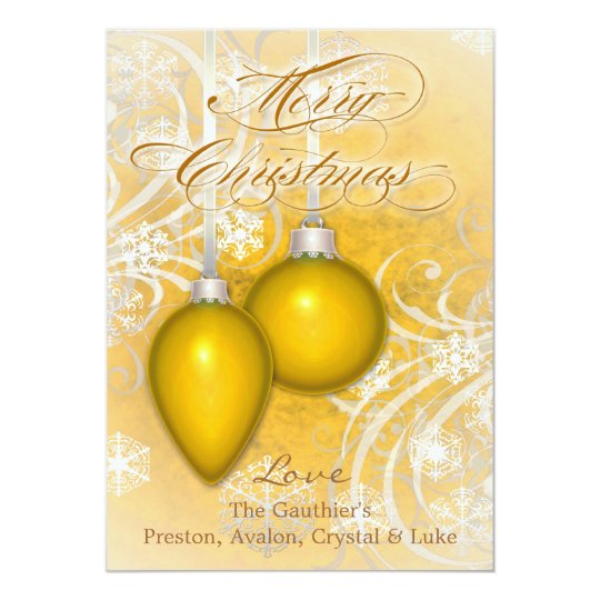 Frosted Flourishes Yellow Winter Holiday Card