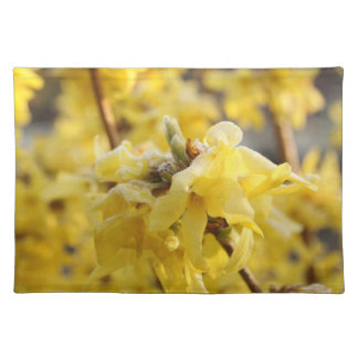 frosted forsythia cloth placemat