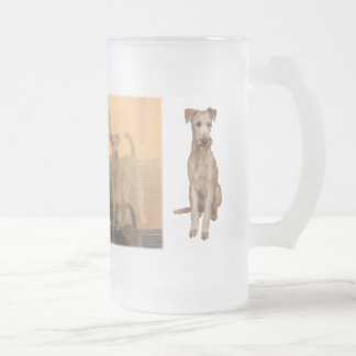 """Frosted glass cup """"Irish Terrier """" 16 Oz Frosted Glass Beer Mug"""