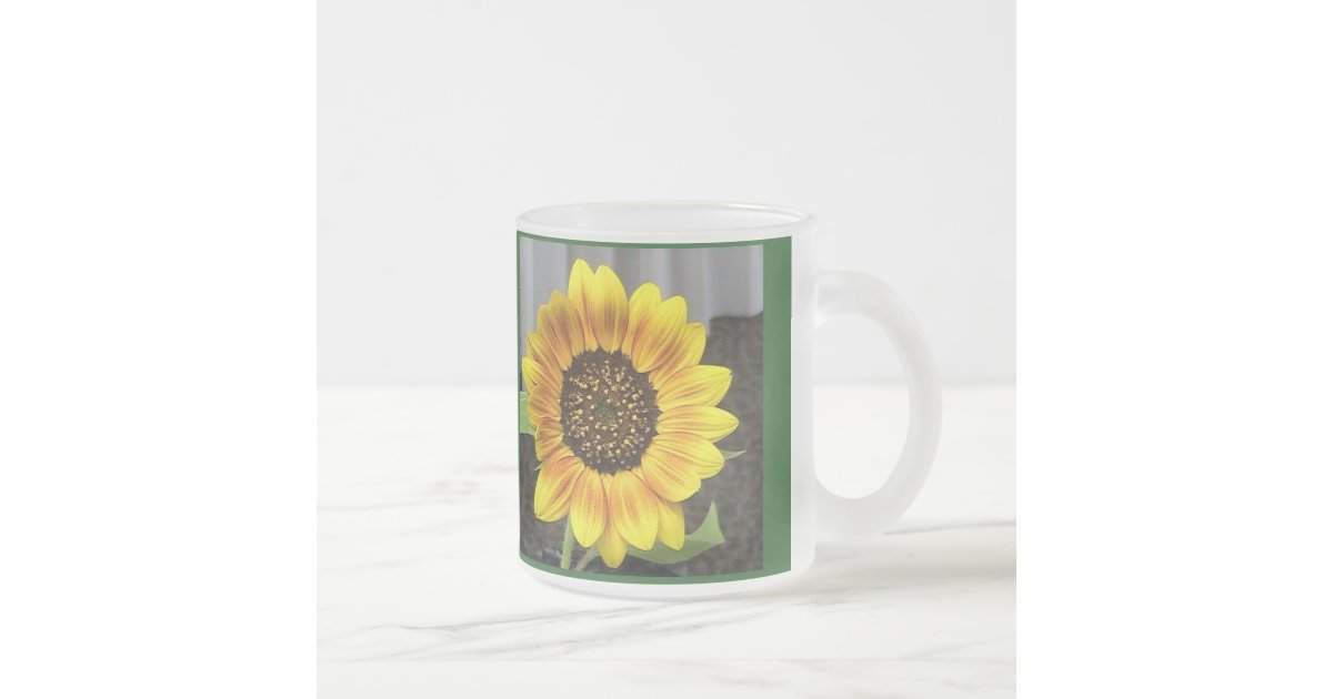 Frosted Glass Large Sunflower Frosted Glass Coffee Mug