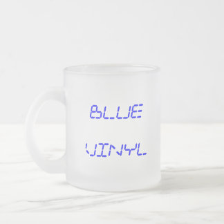Frosted Glass Mug, BLUE VINYL 10 Oz Frosted Glass Coffee Mug