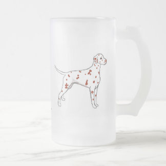 Frosted Glass Mug: Liver Dalmatian Frosted Glass Beer Mug