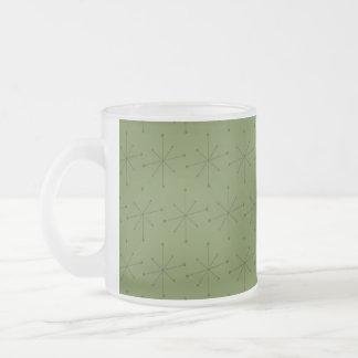 Frosted Glass Mug MIDCENTURY MODERN STARBURST PATT