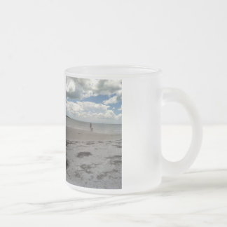 Frosted glass mug with a beach scene