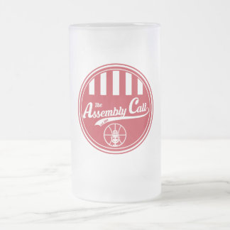 Frosted Glass Mug with Assembly Call logo