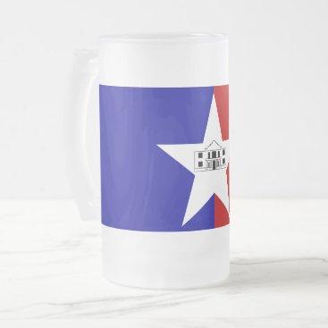 Frosted Glass Mug with flag of San Antonio, USA