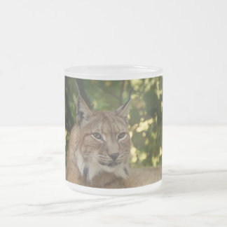 Frosted Glass Mug with Tiger Face