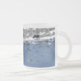 Frosted glass mug-Yellowstone Lamar wolf pack run Frosted Glass Coffee Mug