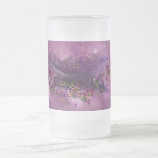 Frosted Glass - Purple Fairys Feather Coffee Mug