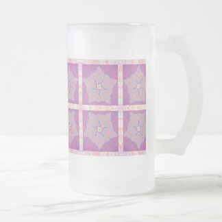 Frosted Glass - Purple Star Fractal Pattern 16 Oz Frosted Glass Beer Mug