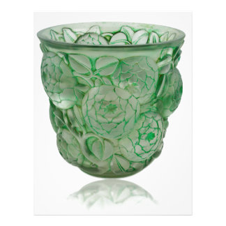 Frosted Green Art Deco glass vase with Roses. Letterhead